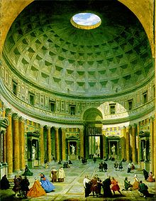 The interior of the Pantheon in the 18th century, painted by Giovanni Paolo Panini.
