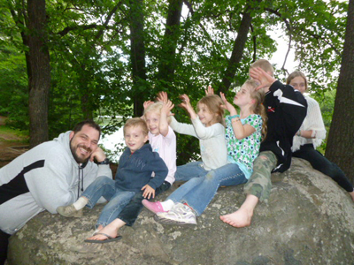 image - all the kids on a rock