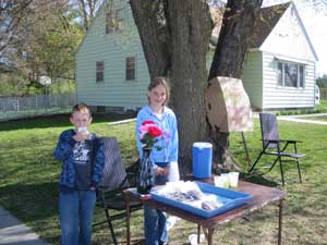 Kaitlyn sold brownies and koolaid at our community-wide garage sale this weekend. I was proud of how hard she worked!