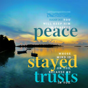 Isaiah 26:3 You will keep him in perfect peace whose mind is stayed on you, because he trusts in you.